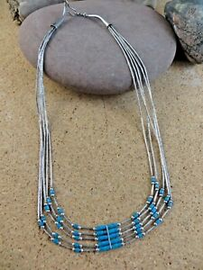 """Vintage Turquoise Blue Beads 5 Strand Liquid Sterling Silver 16"""" Necklace #226"""