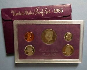 """> 1985-s  KENNEDY HALF  5-COIN """"PROOF"""" SET, San Francisco Mint in Display Case"""