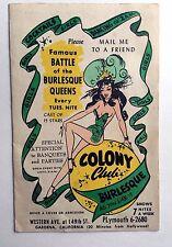 1950s  Famous Colony Club Burlesque Show Menu Gardena CA