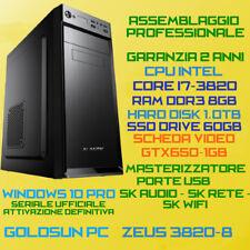 PC FISSO DESKTOP INTEL Core i7-3820 RAM 8GB SSD60GB HDD1.0TB DVD-RW GTX650-1GB