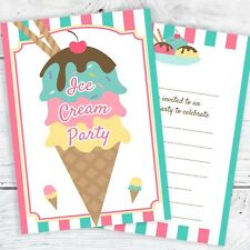 Ice Cream Party Invitations - Ready to Write with Envelopes (Pack 10)