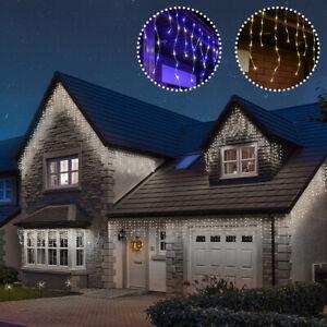ConnectGo Connectable Outdoor LED Christmas Icicle Lights | Garden Home Decor