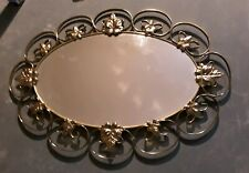 "VINTAGE BRASS OVAL WALL MIRROR DECORATIVE LEAF DESIGN BRASS SURROUND 23"" WIDE"