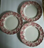 """Johnson Brothers Strawberry Fair Dinner Plates 9 7/8"""" lot of 3 made in England"""