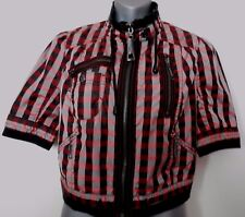 River Island black mix shell s/s check lined skull back GOTH jacket size 10