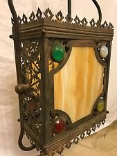 RARE ANTIQUE VICTORIAN OLD JEWELED 1880s SLAG GLASS  HALL CEILING LIGHT FIXTURE