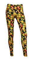 New Retro Colourful Summer Flowers Wild Meadow Floral Fashion Leggings Size 8-22