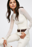 NEW Free People Intimately Scrunch Sleeve Top Shirt Ivory Sz XS/S & M/L $62.88