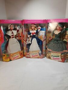 Vintage 1994 Pilgrim, Colonial, and Pioneer Barbies American Stories Collection