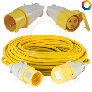 110V 32A YELLOW EXTENSION LEAD FOR 110V TOOLS, 110V SITE LIGHTING 4MM 5M - 50M