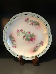 Vintage Reticulated Porcelain Plate Turquoise Gold Trim W/Roses Vanity Plate