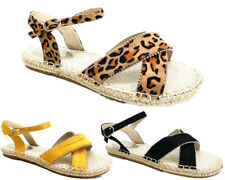 New Women Lady Flat Leopard print Espadrille Open Toe Sandals Casual Shoes Pumps