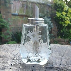 Vintage - Sugar Bottle Dispenser - Engraved Glass - Tea Coffee