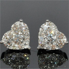 Luxury White Sapphire CZ Heart Stud Earrings 925 Silver Women Wedding Jewelry L7