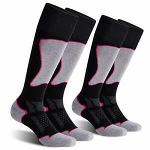 CelerSport 2 Pack Women's Ski Socks for Skiing, (Medium|Black+rose Red)