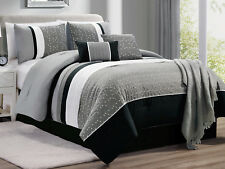 7-Pc Moxie Floral Baby's Breath Embroidery Comforter Set Black Gray White King