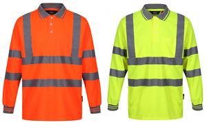 Traega TPSL02G Hi Vis Visibility Safety Workwear Long Sleeve Polo Shirt