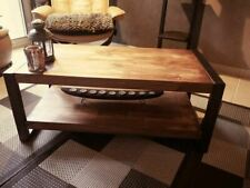 Solid wood metal coffee table two trays