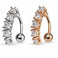 Zircon Stainless Steel Belly Button Bar Navel Ring Body Piercing Women Jewelry