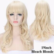 Thick Natural Hair Wig with Bangs Women Long Curly Wavy Straight Wigs Cosplay d1