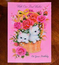 Vintage UNUSED BIRTHDAY Greeting Card NORCROSS PINK KITTENS CATS GLITTER EMBOSSD
