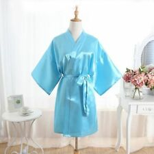 Women's Plain Silk Satin Robes Bridal Wedding Bridesmaid Bride Gown Kimono-Robe#
