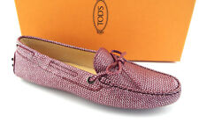 367fe416573 Tods Size 9 Pink Textured Metallic Moccasins Driver 40 Loafers Shoes