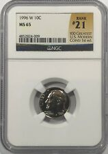 1996 W ROOSEVELT DIME NGC MS65 # 21 OF 100 GREATEST US MODERN COINS KEY DATE