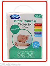 ❤ 2 x Cotton Jersey PLAYGRO Fitted Cot WATERPROOF MATTRESS PROTECTOR Twin ❤