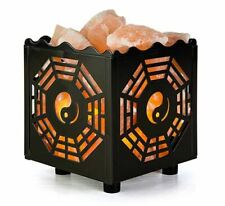 CRYSTAL DECOR Natural Himalayan Salt Lamp in Bagua Design W/ Metal Basket