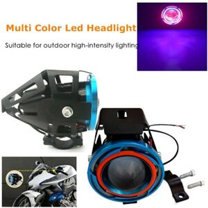 1500LM Motorcycle External Spotlight Halo Projector Lens Colorful LED Headlights