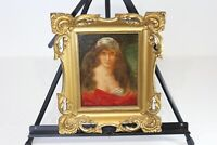 Antique Portrait Oil Painting Victorian Woman Long Flowing Hair Signed Framed