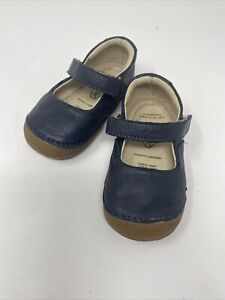 Old Soles Navy Shoes 12-15 Months US Size 5 Girls Mary Jane Toddler Leather