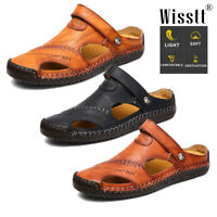 Men Summer Closed Toe Leather Sandals Casual Flat Slippers Beach Fisherman Shoes