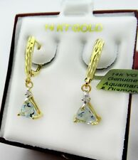 GENUINE 0.82 Cts AQUAMARINE & DIAMOND EARRINGS 14k Yellow Gold Lever Back ** NWT