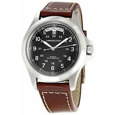 H64455533 HAMILTON KHAKI KING MENS WATCH Brown Strap Automatic Stainless new