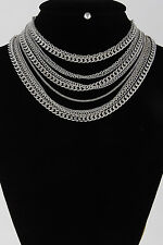 """14"""" silver multi layered chain choker necklace .30"""" earrings"""