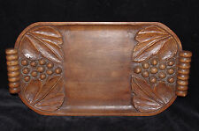 ART DECO French wooden wood hand carved platter tray leaf grape black forest