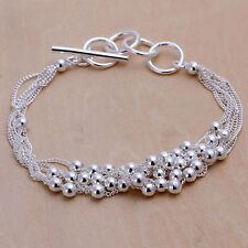 Unisex Women's 925 Sterling Silver Bracelet Beads Adjustable Size L18