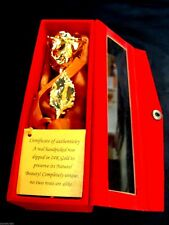 "VALENTINE'S GIFT 24K Gold Dipped 6"" Real Rose with Gold Satin & Red Velvet Box"