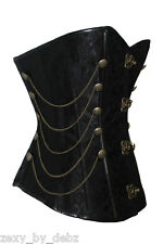 Corset  Black Metal Clasp Chains Steampunk Goth sizes  6 8 10 12 14