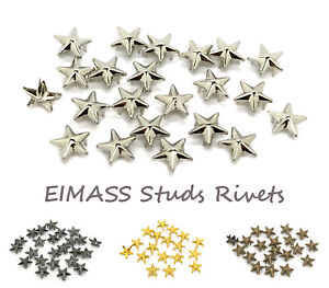 100 x Star Claw Studs, Clip on Copper Studs for Shoes, Bags, Costumes,Belts,2188