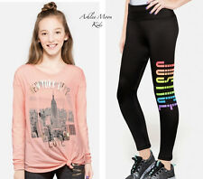 NWT JUSTICE Girls 10 Coral NY City Graphic Long Sleeve Tee & Leggings Outfit Set