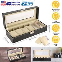 Faux Leather Watch Display Case Storage Box Jewelry Bracelet Organizer Men Women