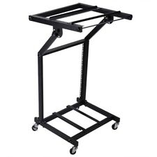"DJ Rack Mount Studio Mixer Stand Rolling Stage Cart Disco Music Mobile 19"" 12U"