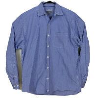 Johnston & Murphy Long Sleeve Plaid Gingham Button Up Shirt Mens Sz L Blue White