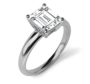 1.10 CT EMERALD CUT E/VS1 DIAMOND SOLITAIRE ENGAGEMENT RING 18K WHITE GOLD