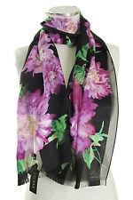 LAUREN Ralph Lauren 'Marie' Silk Striped Floral Scarf in Black NWT