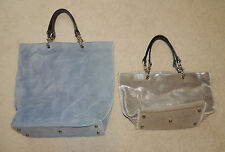 Two IMPERIO jp Suede Leather Purses Bags Totes, Blue, Silver, Black Brown Straps
