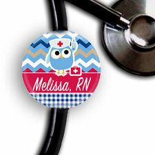 PERSONALIZED RED WHITE BLUE OWL NURSE STETHOSCOPE ID TAG